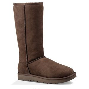 UGG Classic Tall Choc Brown Suede Fur Boots Sz 9